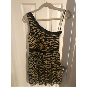 Cheetah print dress/ one shoulder dress